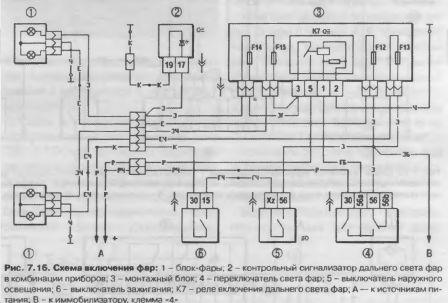 Схема включения фар Калины